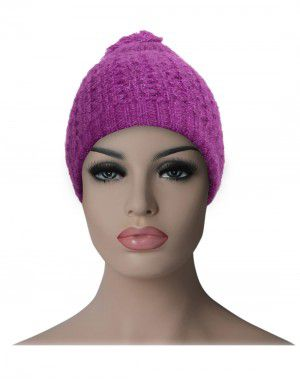 Kids woollen pom pom cap purple