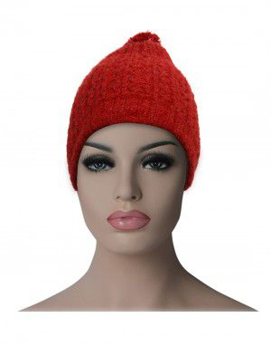 Kids woollen pom pom cap red