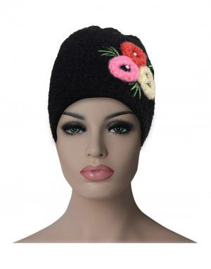 Women cap three flower design black
