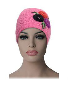 Women cap three flower design Light Pink