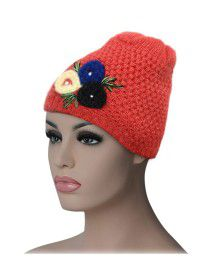 Women cap three flower design peach