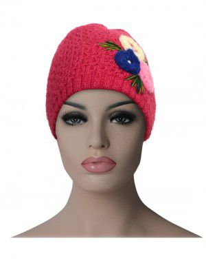 Women cap three flower design pink
