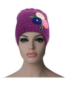 Women cap three flower design purple