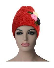 Women cap three flower design red