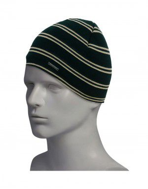 Unisex acrylic cap two stripes design green