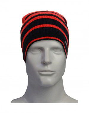 unisex woollen cap stripes with fleece inside red