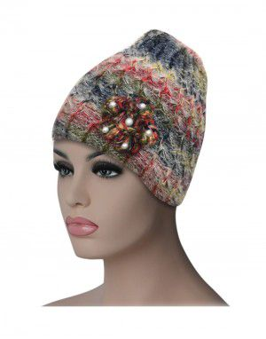 Women multi cap with flower design multi