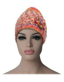 Women multi cap with flower design orange