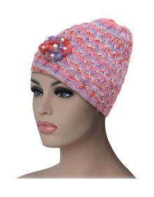 Women multi cap with flower design pink