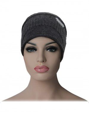 Unisex acrylic cap baggy self design dark grey