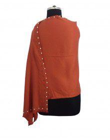 Woolblend Women Stole Plain design with side moti border