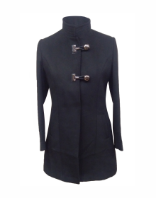 Women Woolen Coat Loop button Black