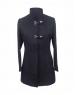 Women Woolen Coat Loop button Black