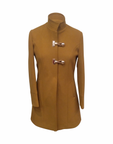 Women Woolen Coat Loop button Camel