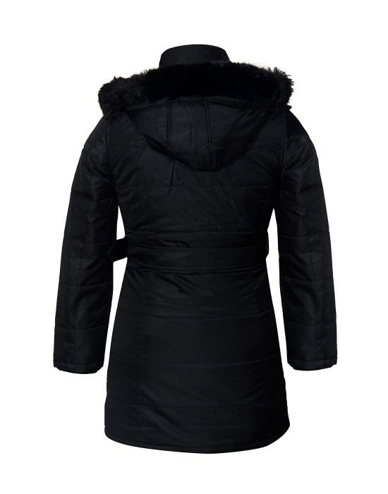 Ladies Jacket belted Black Plus Size