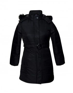 Ladies belted Black Jacket on Rent