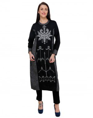 Women kurti round neck double color designer grey