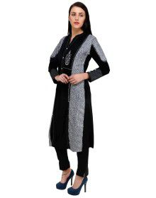 Womens plain kurti ban neck with front four button double color