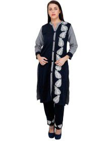 Womens kurti V neck button on belt with Bottom Pant style Plazoo