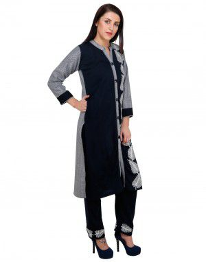 Womens kurti V neck button on belt with Bottom