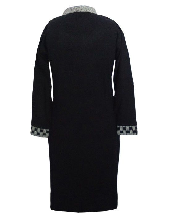 Womens plain kurti designer neck with front pocket color black