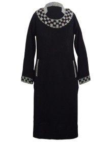 Womens plain kurti designer neck with front pocket color black