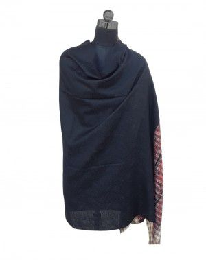 Woolblend Plain Shawl  Black