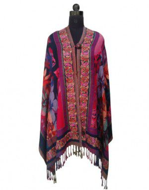 Full Embroidered shrug With Button Design Multi