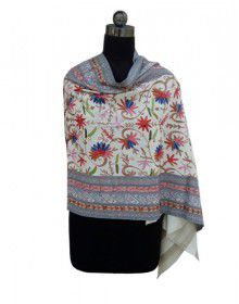 Pure wool Embroidered Stole Multi Colour