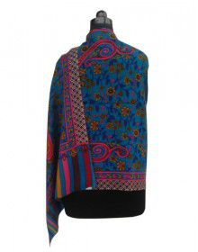 Purewool Heavy Printed Designer Stole Blue Colour