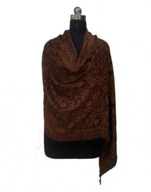 Women Viscose Designer Stole Brown