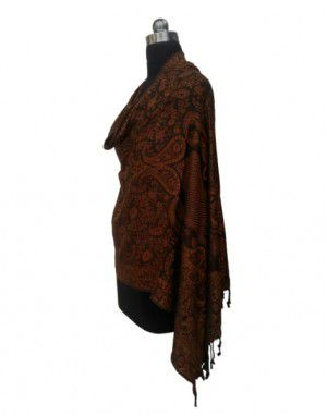 Wool Blend Designer Stole Brown