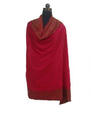 Pure wool Self design Shawl Red