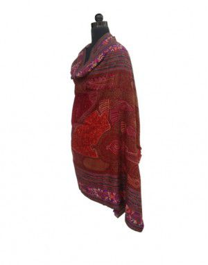Pure wool Embroidered Border Shawl