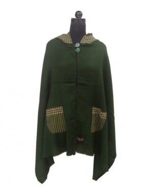 Plain Shrug With Check Hood Green