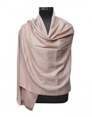 Women pure wool shawls plain self design brown