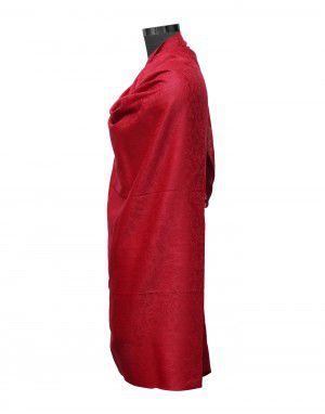 Women pure wool shawls self design red