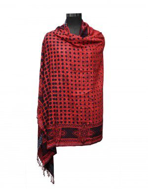 Women viscose stole dotted red