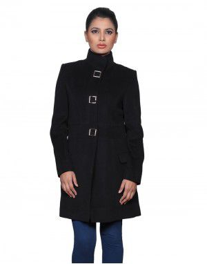 Womens Woolen Coat long Black