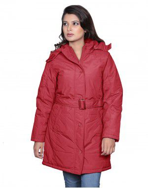 Ladies long Jacket with Belt Red