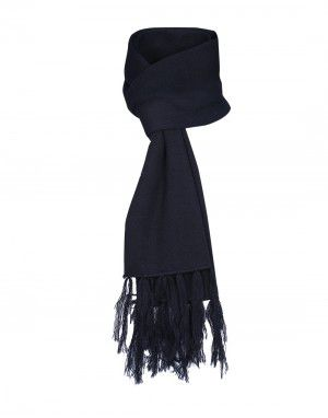 Wool Blend Plain Muffler Black