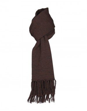 Wool Blend Plain Muffler Dark Brown